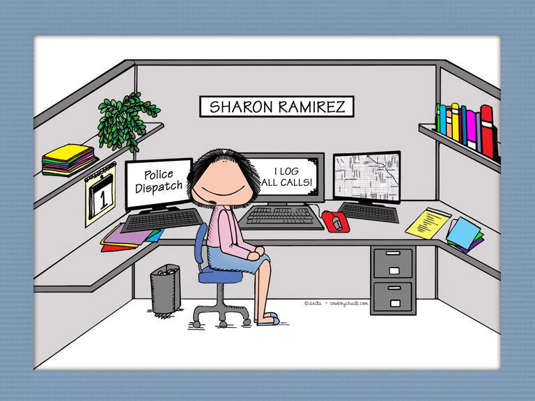 Dispatcher Cartoon Picture Female - Personalized 8791