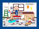 Handyman Cartoon Picture Male - Personalized 8834