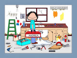Handyman Cartoon Picture Female - Personalized 8835