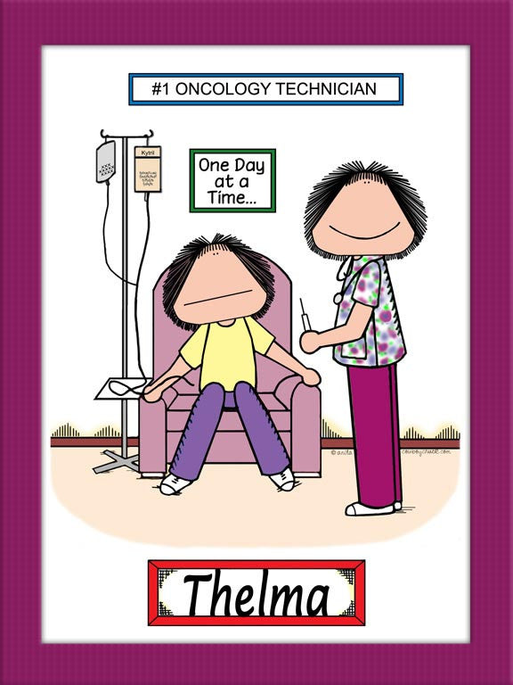Oncology Tech with Female Patient Cartoon Picture Female - Personalized 8845