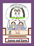 Anniversary Cartoon Picture Female and Female - Personalized 8859
