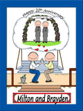 Anniversary Cartoon Picture Male and Male - Personalized 8860