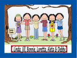 Friends / Sisters Cartoon Picture 6 Females Personalized 8879