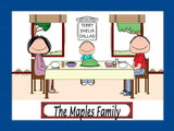 Family Dinner Cartoon Picture with 1 Kid - Personalized 8891