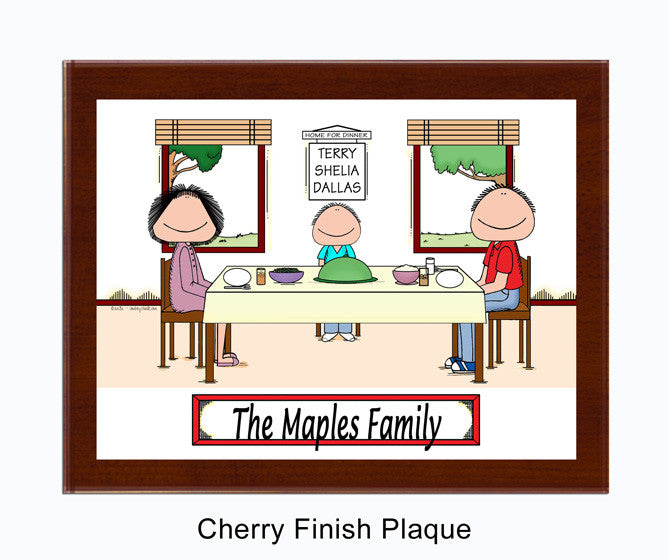 Family Dinner Plaque 1 Kid - Personalized