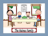 Family Dinner Cartoon Picture with 2 Kids - Personalized 8892
