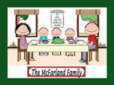 Family Dinner Cartoon Picture with 3 Kids - Personalized 8893