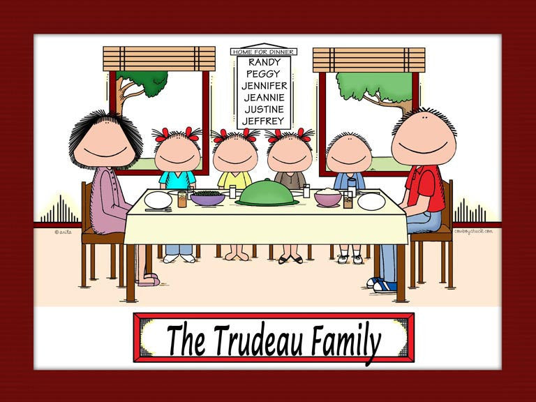Family Dinner Cartoon Picture with 4 Kids - Personalized 8894