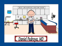 Doctor's Office Cartoon Picture Male - Personalized 8936