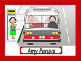 Bus Driver Cartoon Picture Female - Personalized 8939