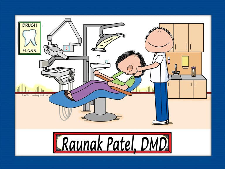 Dentist Office Cartoon Picture Male - Personalized 8948