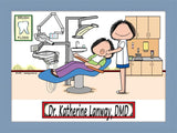 Dentist Office Cartoon Picture Female - Personalized 8949