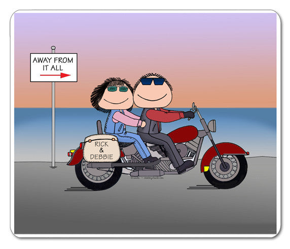 Motorcycle Sunset Couple Mouse Pad Couple Personalized