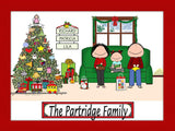 Christmas Family Cartoon Picture with 1 Kid - Personalized 8961