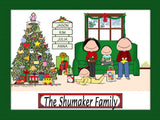 Christmas Family Cartoon Picture with 2 Kids - Personalized 8962