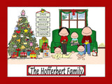 Christmas Family Cartoon Picture with 3 Kids - Personalized 8963