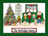 Christmas Family Cartoon Picture with 4 Kids - Personalized 8964