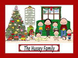 Christmas Family Cartoon Picture with 5 Kids - Personalized 8965