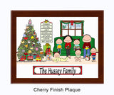 Christmas Family Plaque 5 Kids - Personalized