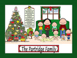 Christmas Family Cartoon Picture with 6 Kids - Personalized 8966