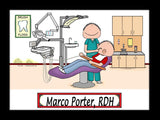 Dental Hygienist Cartoon Picture Male - Personalized 8976