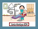 Dental Hygienist Cartoon Picture Female - Personalized 8977