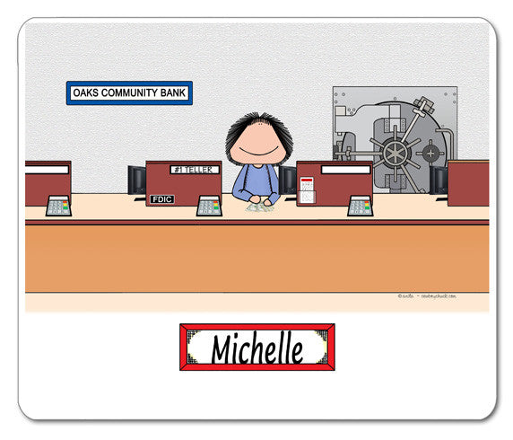 Bank Teller Mouse Pad Female Personalized