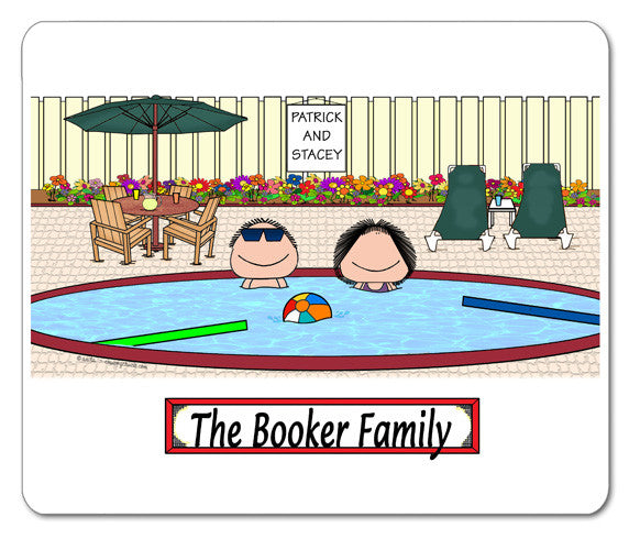 Pool Couple Mouse Pad Personalized