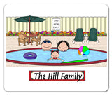 Pool Family Mouse Pad 1 Kid Personalized