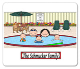 Pool Family Mouse Pad  Couple 3 Kids Personalized