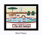 Pool Family Plaque 6 Kids - Personalized