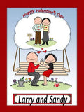 Happy Valentine Cartoon Picture Male and Female - Personalized 9003