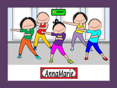 Zumba Cartoon Picture Female - Personalized 9049