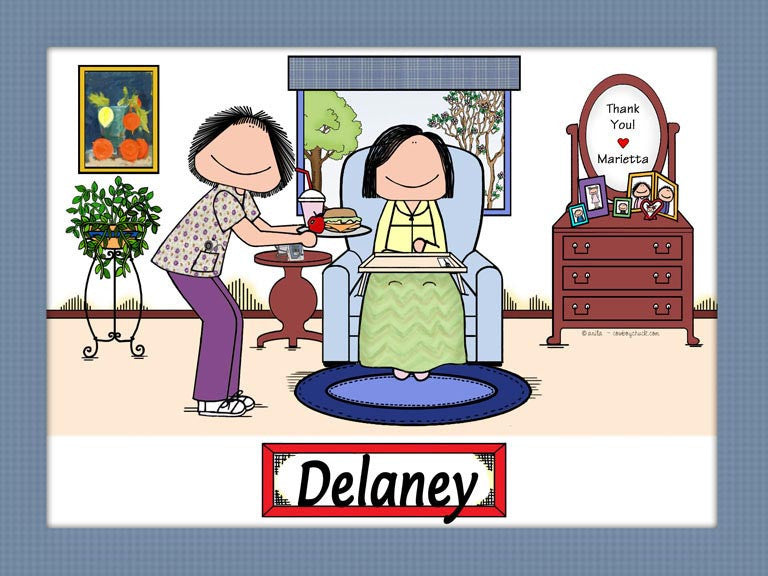 Home Healthcare Provider Cartoon Picture Female with Female Patient - Personalized 9055