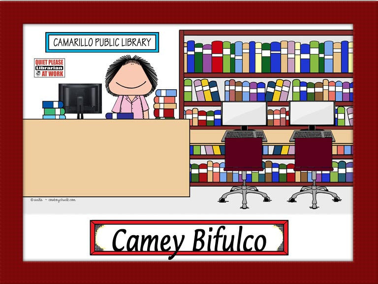 Library Cartoon Picture Female - Personalized 9059