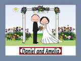 Wedding Under Arbor Cartoon Picture Male and Female - Personalized 9078