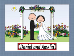Wedding Under Arbor Cartoon Picture