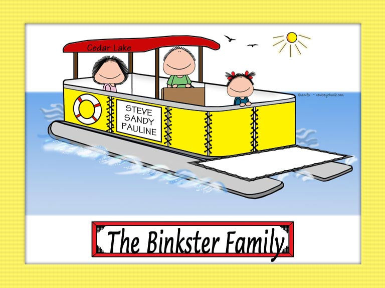 Pontoon Boat Family Cartoon Picture with 1 kid - Personalized 8085