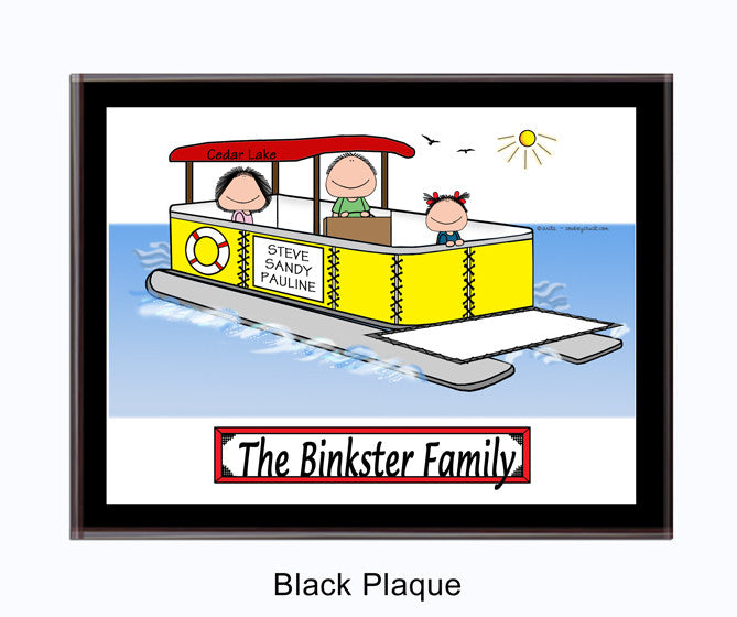 Pontoon Boat Family Plaque