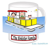 9085 Pontoon Boat Family Mug with 1 Kid - Personalized