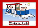 Pontoon Boat Family Cartoon Picture with 2 kids - Personalized 8086