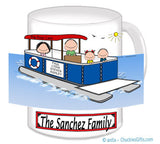 9086 Pontoon Boat Family Mug with 2 Kids - Personalized