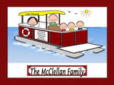 Pontoon Boat Family Cartoon Picture with 3 kids - Personalized 8087