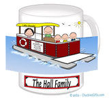 9087 Pontoon Boat Family Mug with 3 Kids - Personalized