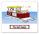 9087 Pontoon Boat Family 3 Kids Mouse Pad - Personalized