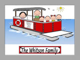 8085 Pontoon Boat Family Cartoon Picture with 4 kids - Personalized 9088