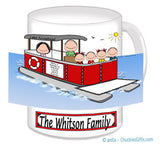 9088 Pontoon Boat Family Mug with 4 Kids - Personalized