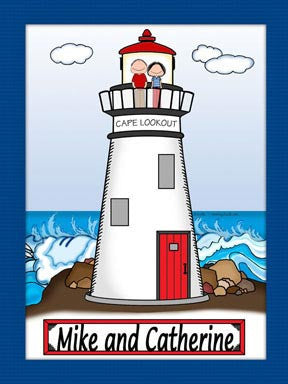 Lighthouse Cartoon Picture Male and Female - Personalized 9089