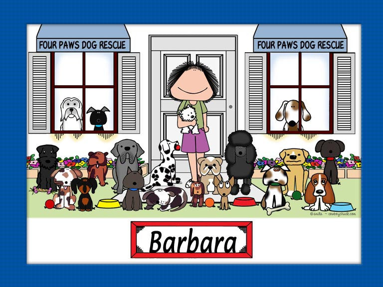 Dog Rescue Cartoon Picture Female - Personalized 9095