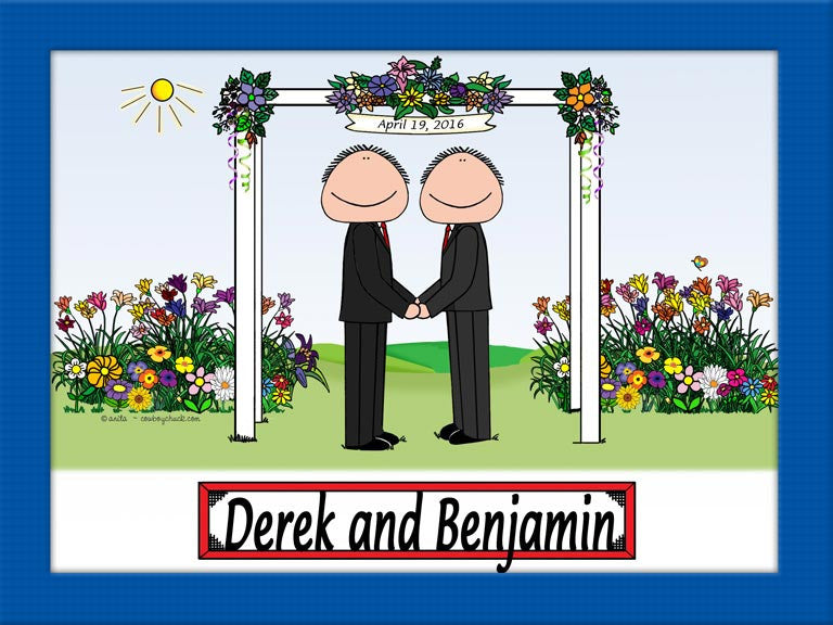 Wedding Under Arbor Same Sex Cartoon Picture